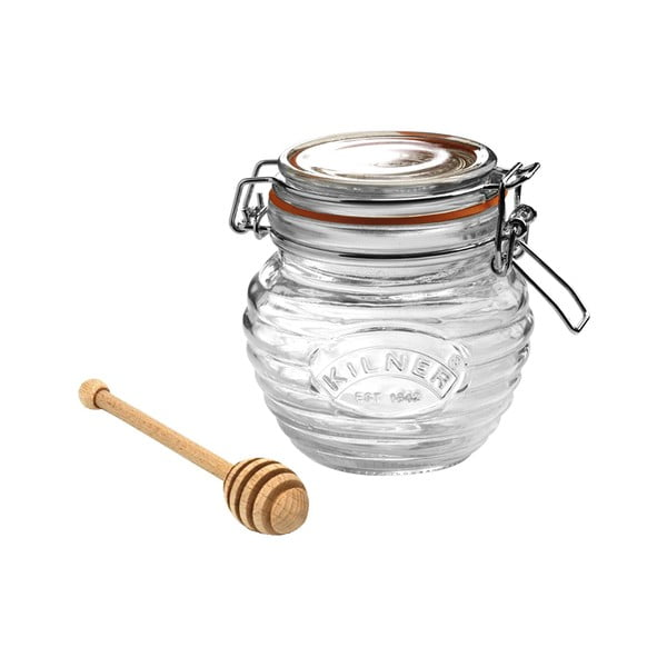 Sklenice na med s klipem a dřevěnou lžičkou Kilner