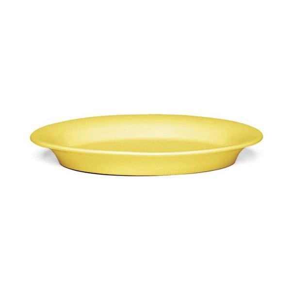 Žlutý oválný kameninový talíř Kähler Design Ursula, 18 x 13 cm