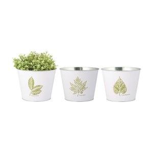 Sada 3 větších bílých květináčů s motivem listu Esschert Design
