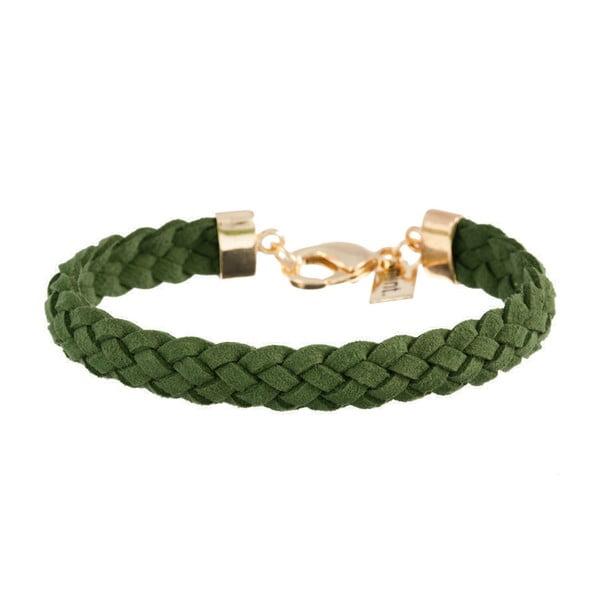Náramek Strand braided gold, dark green