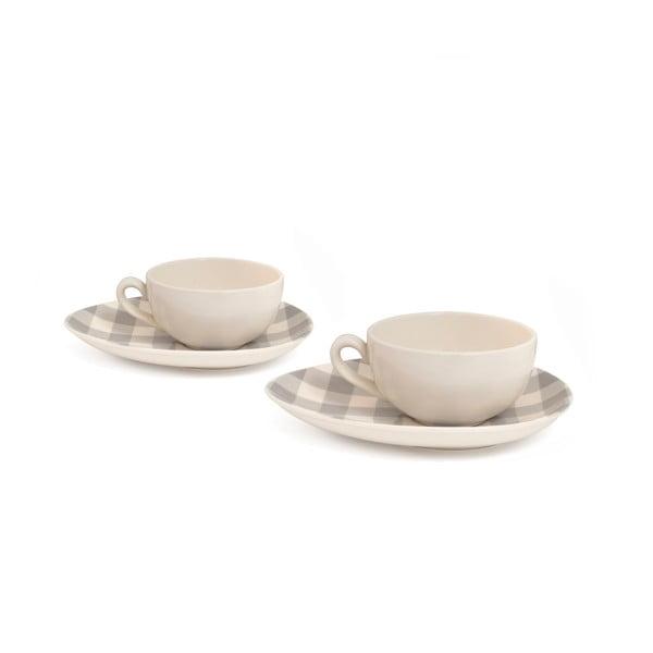 Sada 2 hrnků na cappuccino od Nigelly Lawson Gingham Grey
