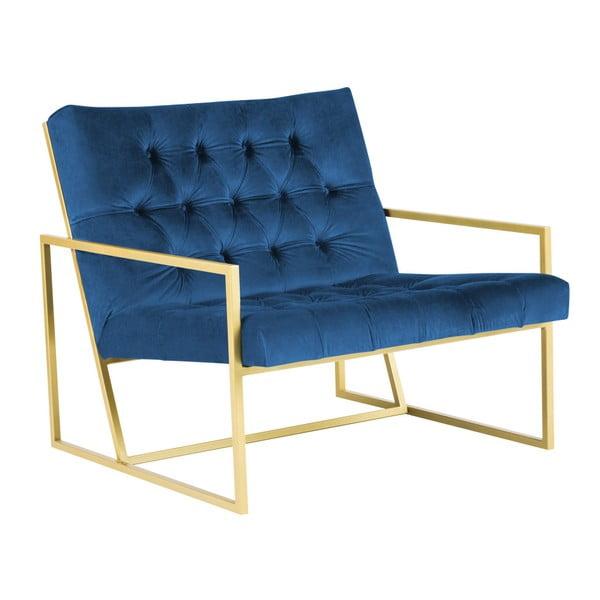 Modré křeslo s konstrukcí ve zlaté barvě Mazzini Sofas Bono