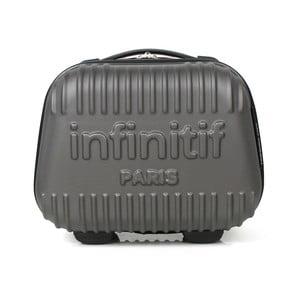 Šedý kosmetický kufřík s potiskem INFINITIF, 12l