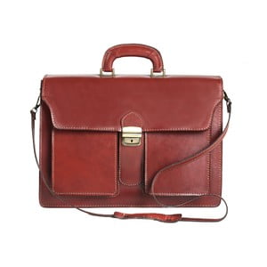 Hnědá kožená taška Chicca Borse Messenger Brown