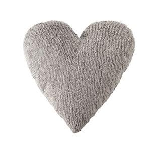 Světle šedý bavlněný ručně vyráběný polštář Lorena Canals Heart, 47x50cm