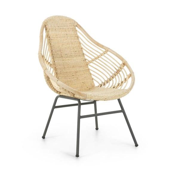 Fotel z metalu i naturalnego rattanu La Forma Collage