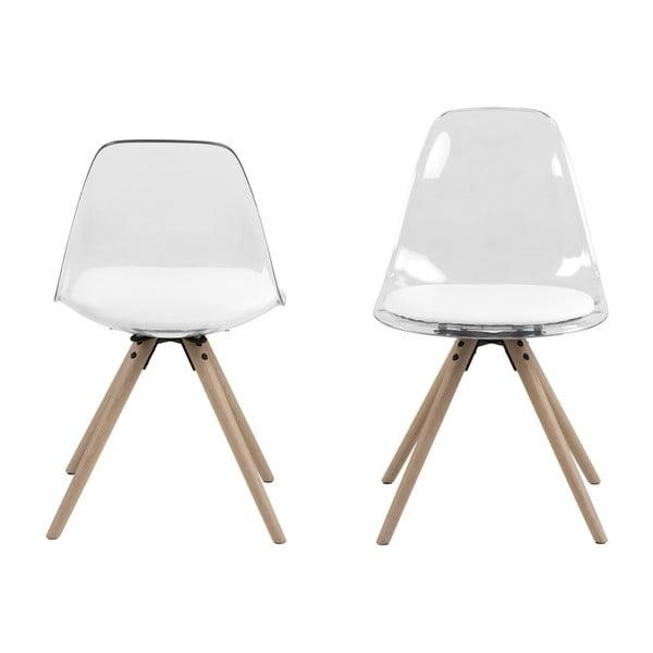 Transparentní jídelní židle s podnožím z dubového dřeva Actona Henning