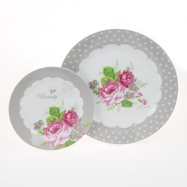 Sada 2 talířů Grey Roses