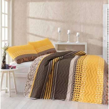 Set cuvertură pat și 2 fețe de pernă din amestec de bumbac Miranda Yellow, 200 x 220 cm de la Unknown