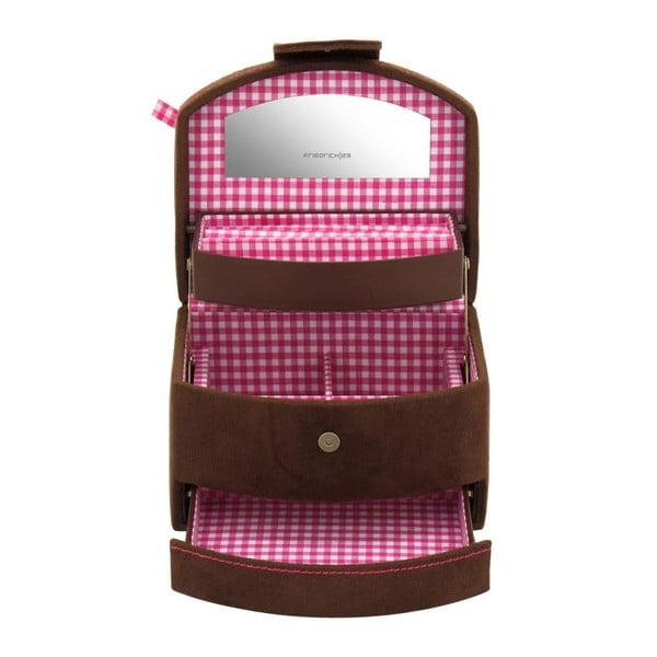 Šperkovnice Bagvaria Brown/Pink, 16x13x11,5 cm