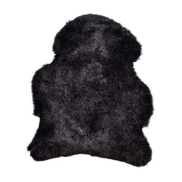 Černá ovčí kožešina s krátkým chlupem, 90x60cm