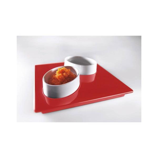 Červený servírovací set Entity, 15x15 cm
