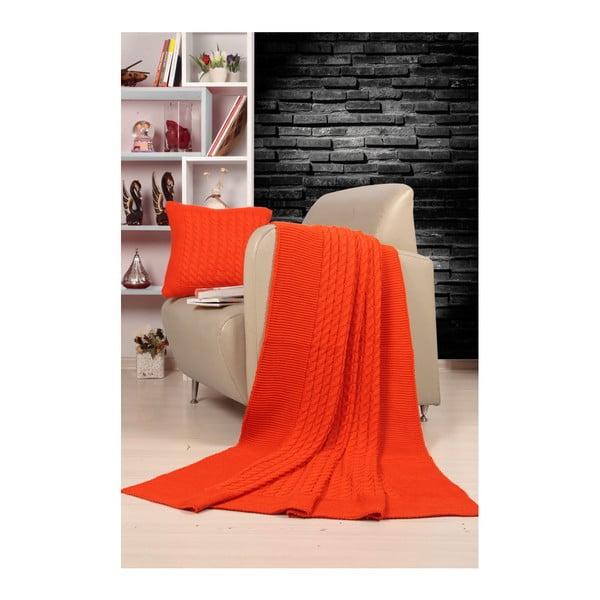 Set pătură și pernă Kate Louise Tricot Sultan, portocaliu