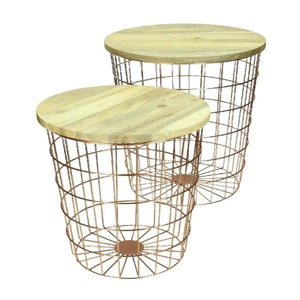 Set 2 stolků Wood Copper