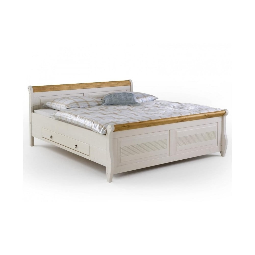 Bílá postel z borovicového dřeva s úložným prostorem SOB Harald, 140 x 200 cm