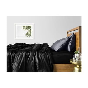 Sada 2 černo-šedých bavlněných povlečení na jednolůžko s černým prostěradlem COSAS Lago, 160 x 220 cm