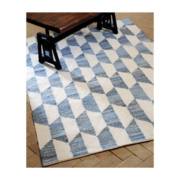 Vlněný koberec Cooper Blue/Ivory, 160x230 cm