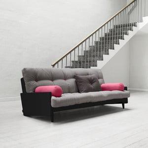 Canapea extensibilă Karup Indie Black/Gris/Light Bordeaux