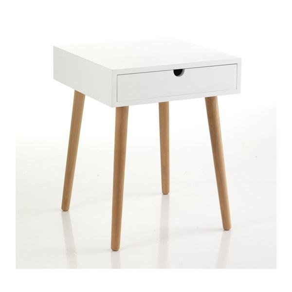 Bílý odkládací stolek se zásuvkou Tomasucci Turneta