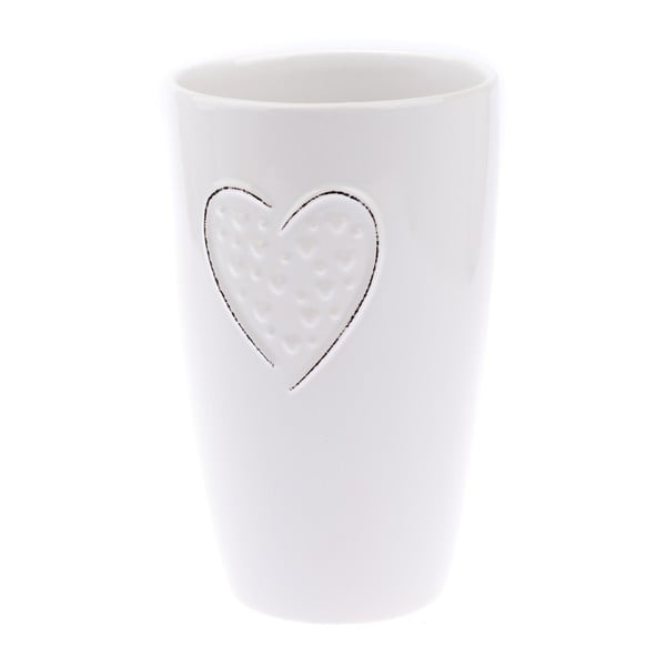 Biały wazon ceramiczny Dakls Hearts Dots, wys. 22 cm
