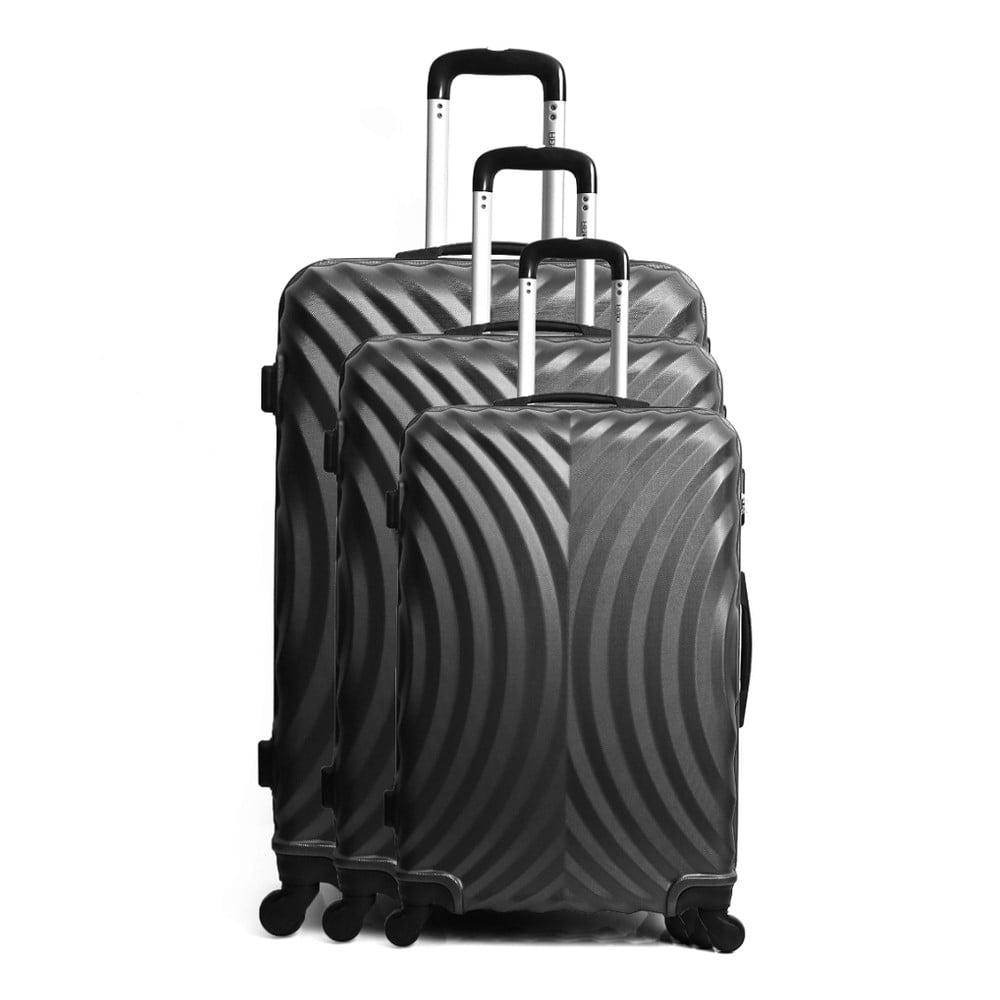 Sada 3 černých cestovních kufrů na kolečkách Hero Lagos