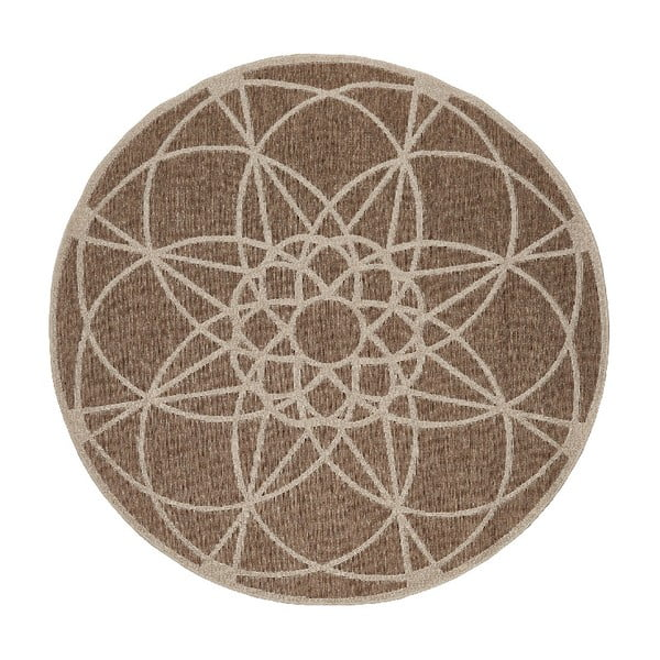 Hnědý venkovní koberec Floorita Tondo, ø 194 cm