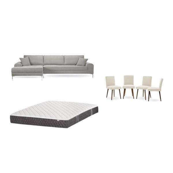 Set canapea gri deschis cu șezut pe partea stângă, 4 scaune crem, o saltea 160 x 200 cm Home Essentials
