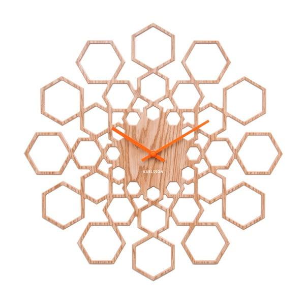 Sunshine Hexagon falióra fa dekorral - Karlsson