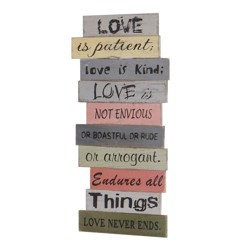 Dřevěná nástěnná dekorace Mendler Shabby Love Is Patient