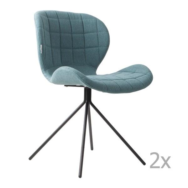 Sada 2 modrých židlí Zuiver OMG