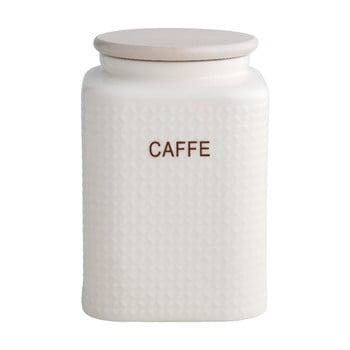 Recipient din porțelan pentru cafea, cu capac din lemn de bambus Brandani Natural, alb de la Brandani