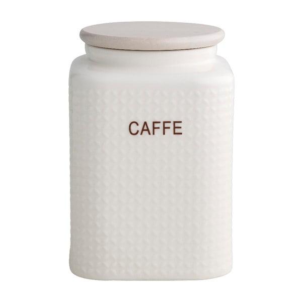 Bílá porcelánová dóza na kávu s bambusovým víčkem Brandani Natural