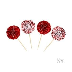 Sada 8 zapichovacích dekorací Neviti Red & White Dots Pinwheel