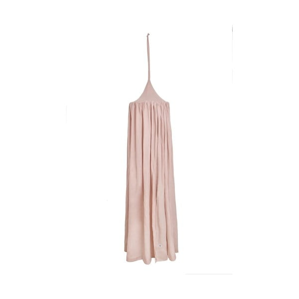Różowy lniany baldachim nad łóżeczko BELLAMY Dusty Pink, dł. 260 cm