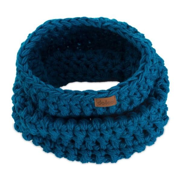 Eșarfă rotundă tricotată manual DOKE Petrol, albastru