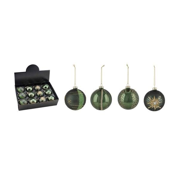 Zestaw 12 zielonych ozdób świątecznych Ego Dekor