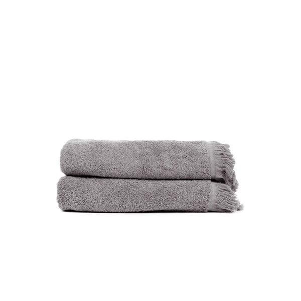 Sada 2 šedých bavlněných ručníků Casa Di Bassi Soft, 50x90cm
