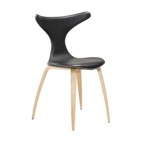 Černá kožená jídelní židle se světlým přírodním podnožím DAN–FORM Denmark Dolphin