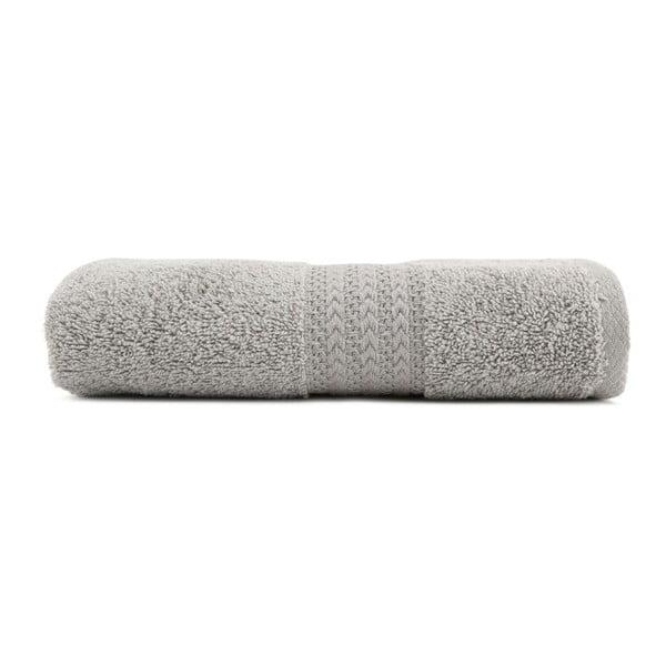 Šedý bavlněný ručník Amy, 50x90 cm