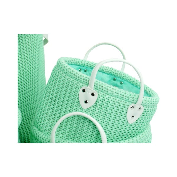 Set 6 coșuri tricotate de depozitare Furniteam Clean, ⌀ 42 cm, verde