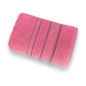 Korálově růžová osuška ze 100% bavlny Marie Lou Remix, 150 x 90 cm