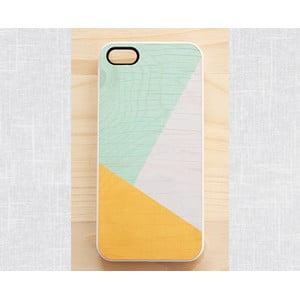 Obal na iPhone 4, Sunny Yellow & Mint geometric wood/white