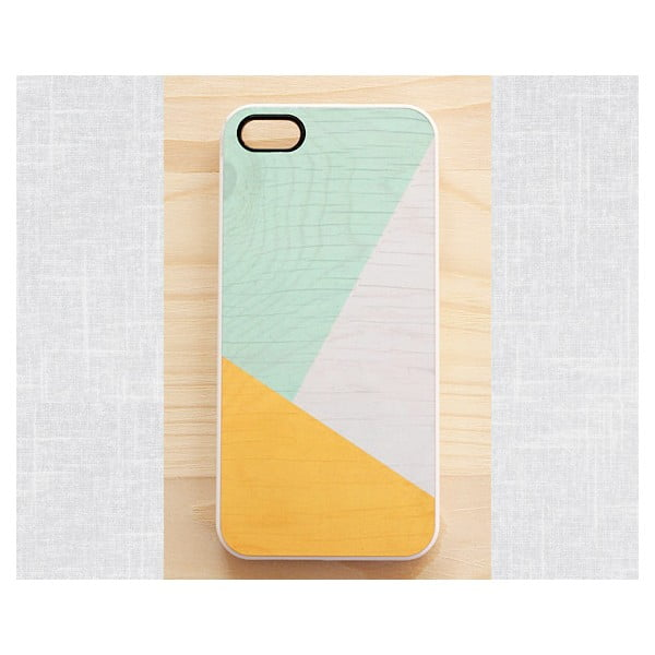 Obal na iPhone 4, Sunny Yellow & Mint geometric wood/white