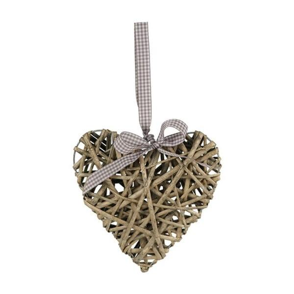 Proutěné srdce, šedé, 40 cm