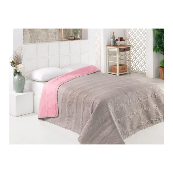 Šedo-růžový oboustranný přehoz přes postel z mikrovlákna, 160 x 220 cm