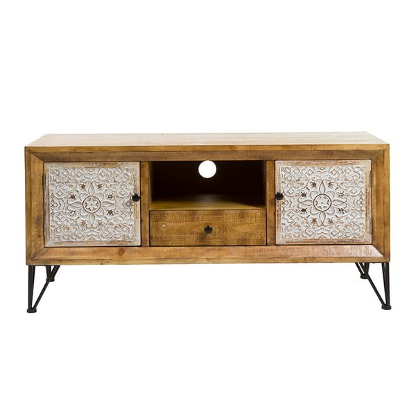 Szafka pod TV z drewna jodłowego i żelaza Santiago Pons Nara