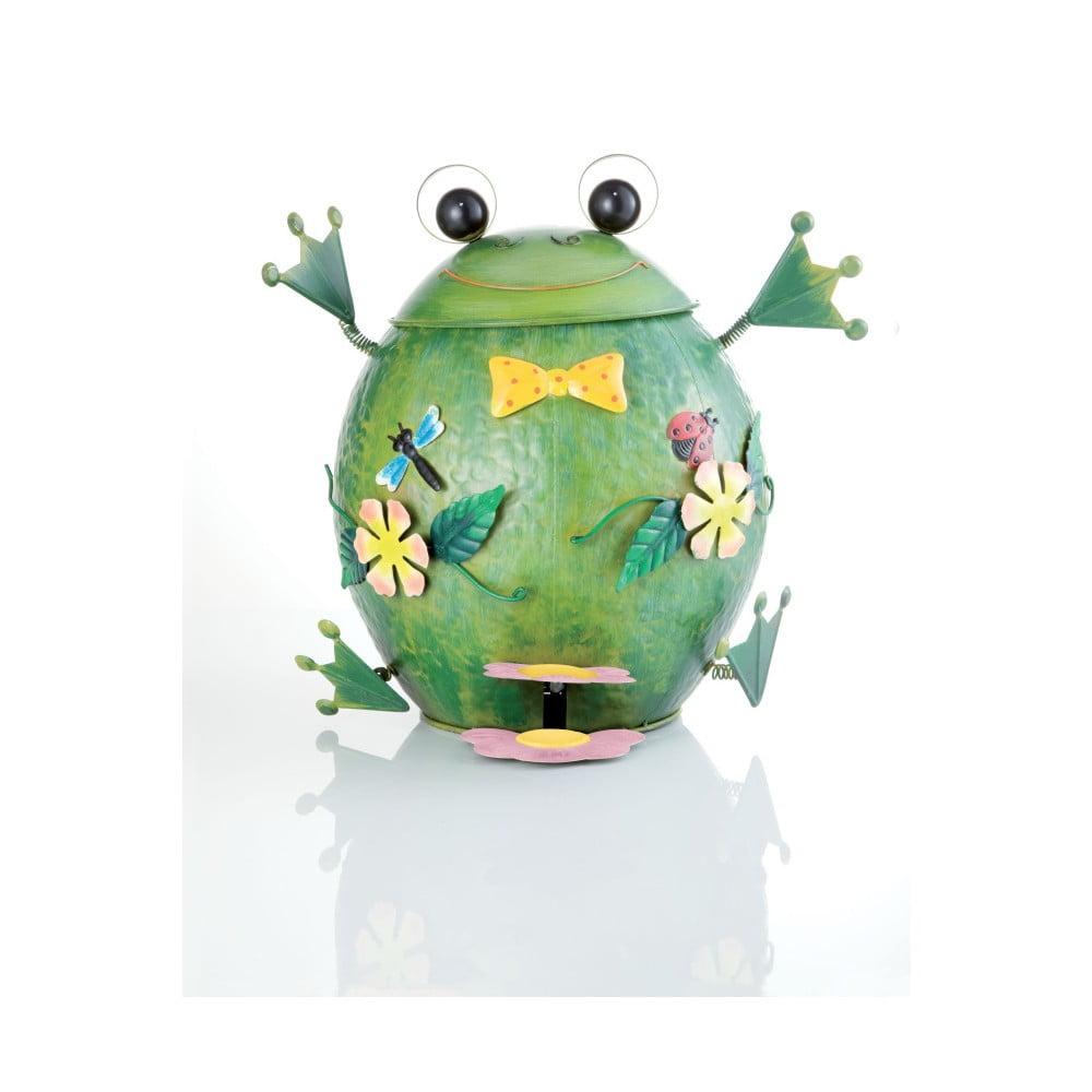 Zelený kovový odpadkový koš ve tvaru žáby Brandani
