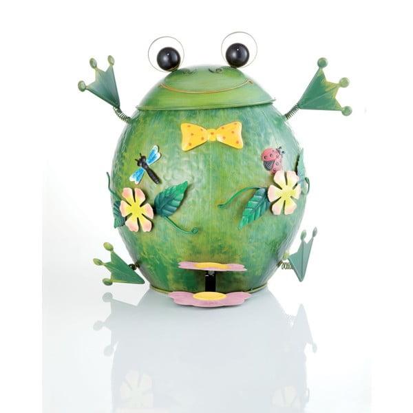 Zielony metalowy kosz na śmieci w kształcie żaby Brandani,10l