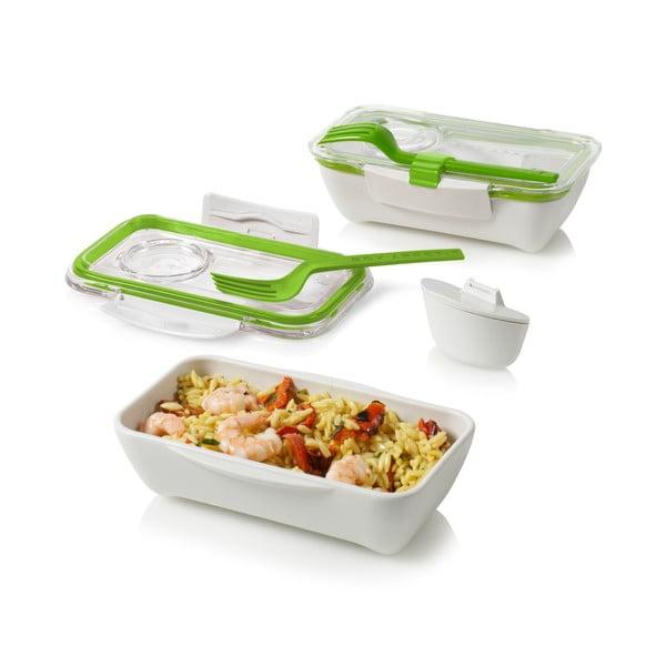 Svačinový box Bento, zelenobílý