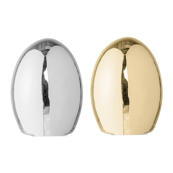 Set 2 decorațiuni din porțelan Bloomingville Shiny Egg, ⌀ 8,5 cm